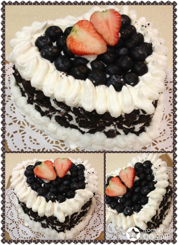 cake with Nestle wipping cream, blue berry and crumbed Oreo